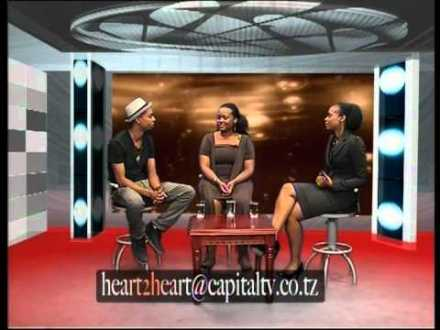 "Modesta Mahiga (right) with brother Andrew Mahiga (left) and Host Gloria Mangi (center) on talk show, ""Heart 2 Heart"""