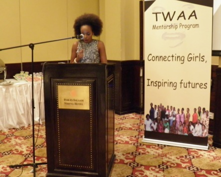 Modesta speaking at TWAA International Women's Day