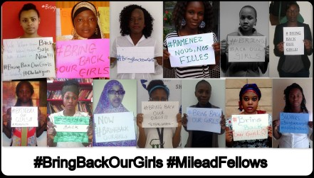 Some of the MILEAD fellows standing in solidarity with our sisters in Nigeria
